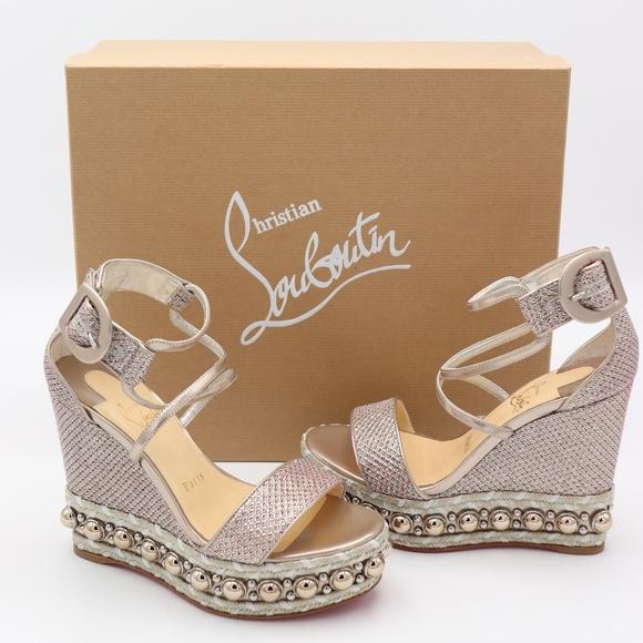 eebecf688445 Christian Louboutin Chocazeppa Stud Wedge Sandals